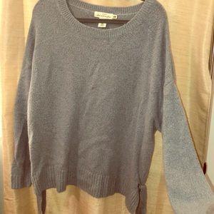Blue sweater w/ side ties & drop shoulder sleeves